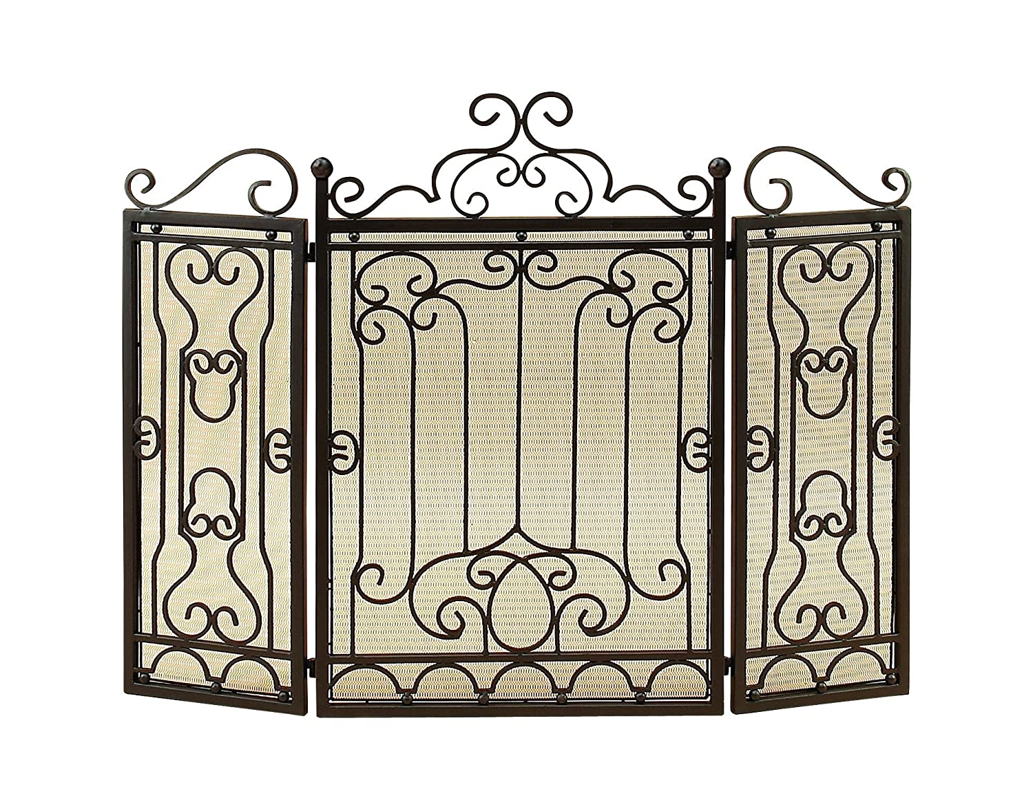 Benzara Splendid 3-Panel Metal Fire Screen, Black BM06846