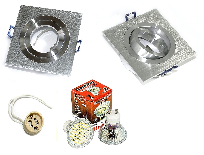 6er Set Einbaustrahler Lenard Eckig 230V GU10 IP20 Farbe Silber geb. 10er SMD-LED Warmweiß 3 Watt entspricht 30 Watt Leuchte
