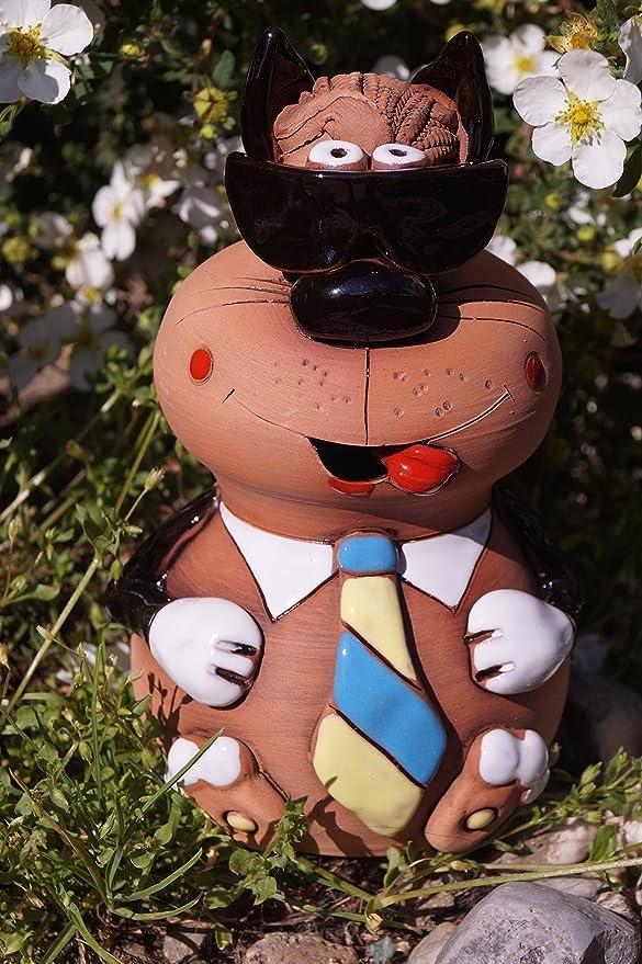 Cerámica Gato Carlos con gafas de sol corbata Figura Jardín Bancal ...