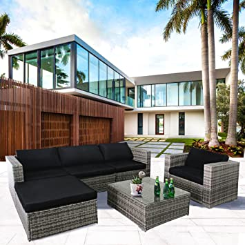Cloud Mountain 6 Piece Rattan Wicker Furniture Set Outdoor Conversation Set  Patio PE Rattan Garden Sectional