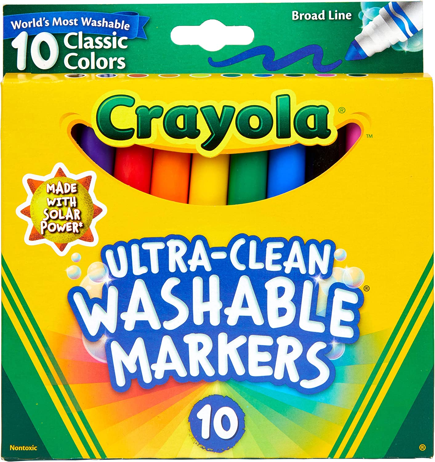 Crayola Ultra Clean Washable Markers, Broad Line, Classic Colors, 10 Count