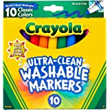 Crayola Washable Markers 10pk, Ultra Clean, Thick or Thin lines, Durable Tip,  Student, School, Classroom