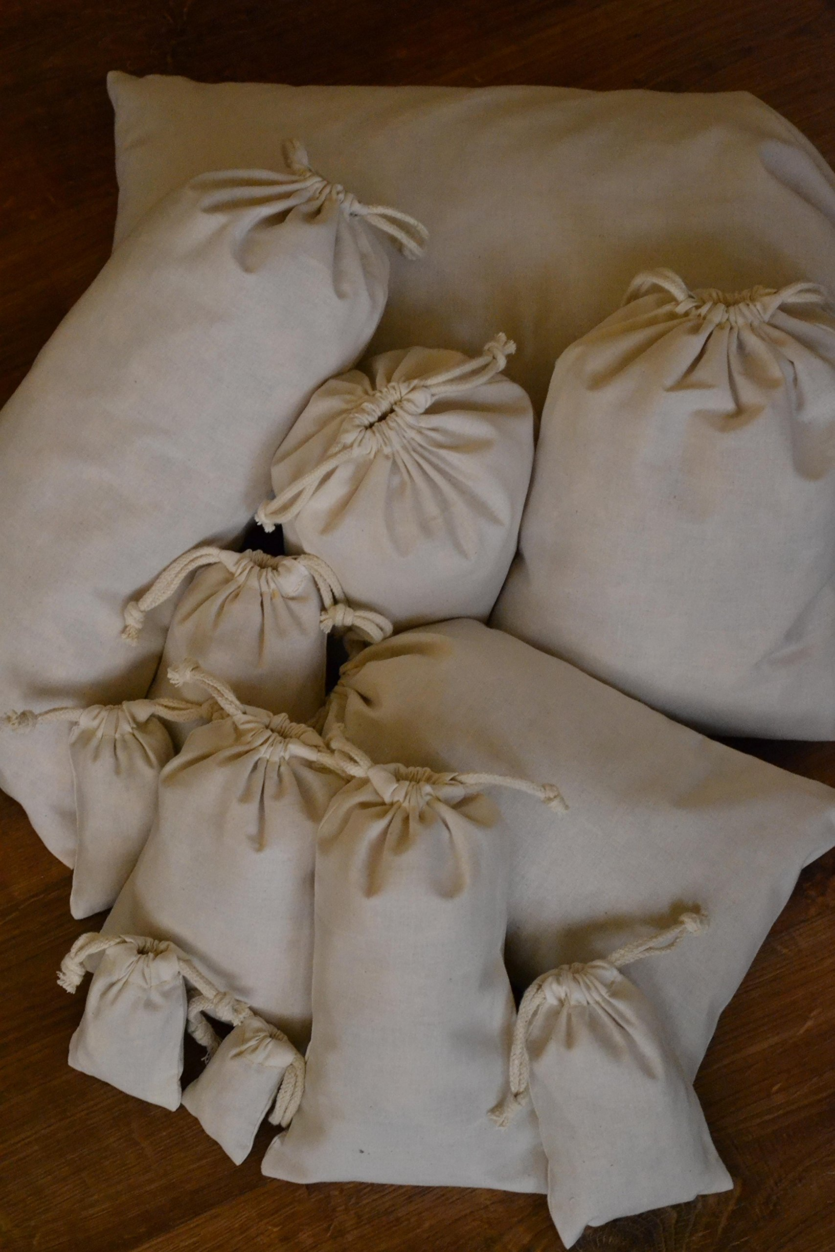 Cotton Double Drawstring Muslin Bag. Natural Color. 4''X''6. Count: 50