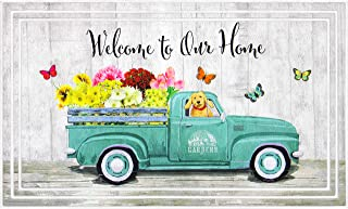 product image for Apache Mills BLDJ Fashionables Deluxe Welcome to Our Home Garden Truck Door Mat, 18-Inch X 30-Inch, Teal