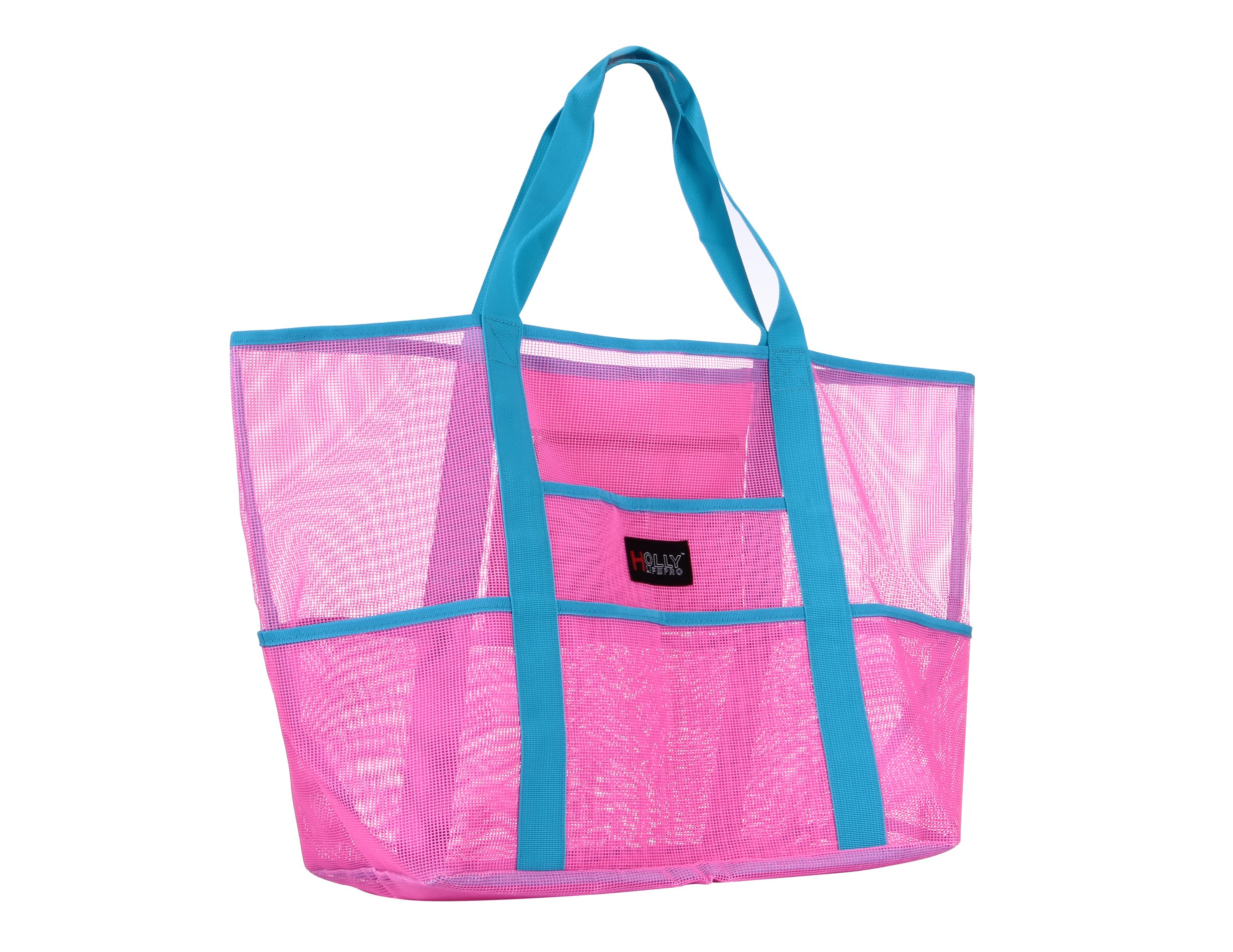 Holly LifePro Mesh Beach Bag Toy Tote Bag Large,Lightweight Market Grocery & Picnic Tote with Oversized Pockets,Inside Zippered Pocket,Carry All Organizer Bag Pink
