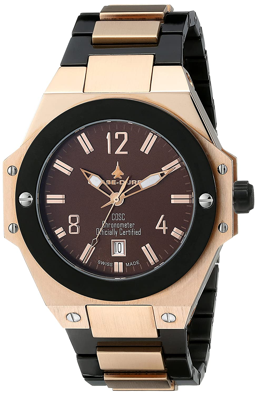 Amazon.com: Chase-Durer Men's 881.88NP-BRA Conquest Automatic Limited  Edition No. 2 18K Rose Gold-Plated Watch: Watches
