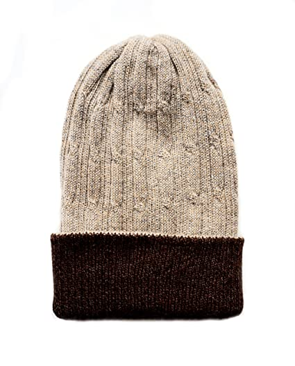 ca2f755c7a2 Amazon.com  Grounders Peru Reversible Beanie 100% Baby Alpaca Headwear  Mountain Ski Winter Hat (Beige)  Clothing