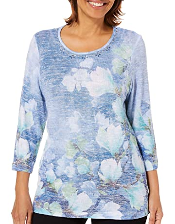 b9f7633322034 Alfred Dunner Women s Greenwich Hills Watercolor Floral Top