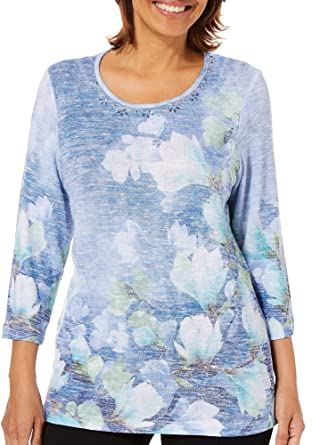 6386631e7722d Alfred Dunner Plus Greenwich Hills Watercolor Floral Top 1X Blue Green White