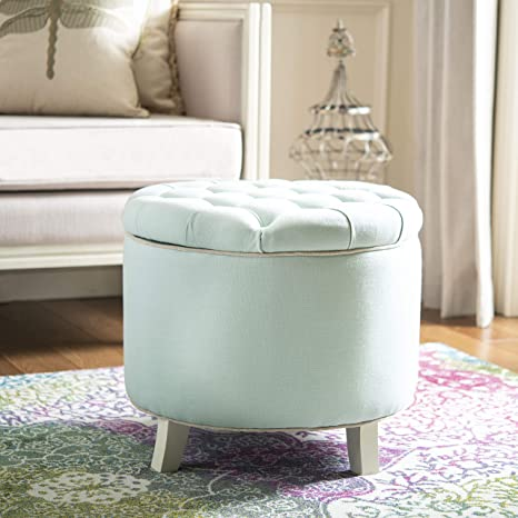 Astounding Safavieh Hudson Collection Irwin Round Storage Ottoman Robins Egg Blue Gmtry Best Dining Table And Chair Ideas Images Gmtryco