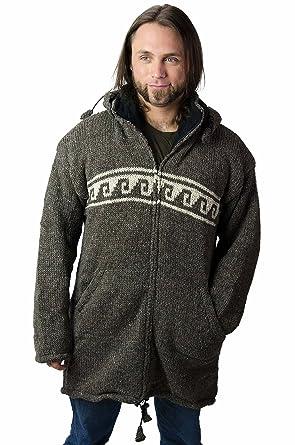 0f7f98334c6 TCG Men s Winter Coat - Hand Knit Wool Outerwear Hoodie - Long ...