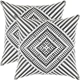TreeWool Throw Pillowcase Kaleidoscope Accent Pure Cotton Decorative Cushion Cover (18 x 18 Inches / 45 x 45 cm; Black) - Pack of 2