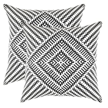 TreeWool Decorative Square Throw Pillow Covers Set Kaleidoscope Accent 100% Cotton Cushion Cases Pillowcases (18 x 18 Inches / 45 x 45 cm; Black & White) - Pack of 2