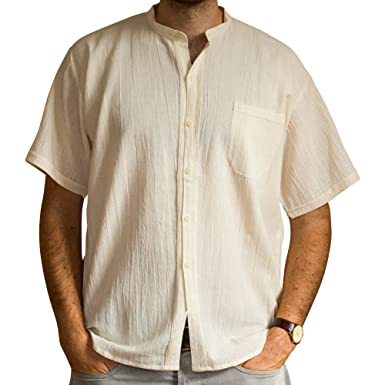 50f778db0c460 Tumia LAC Men s Grandad Shirt - Short Sleeves - 100% Cotton - Small - Beige