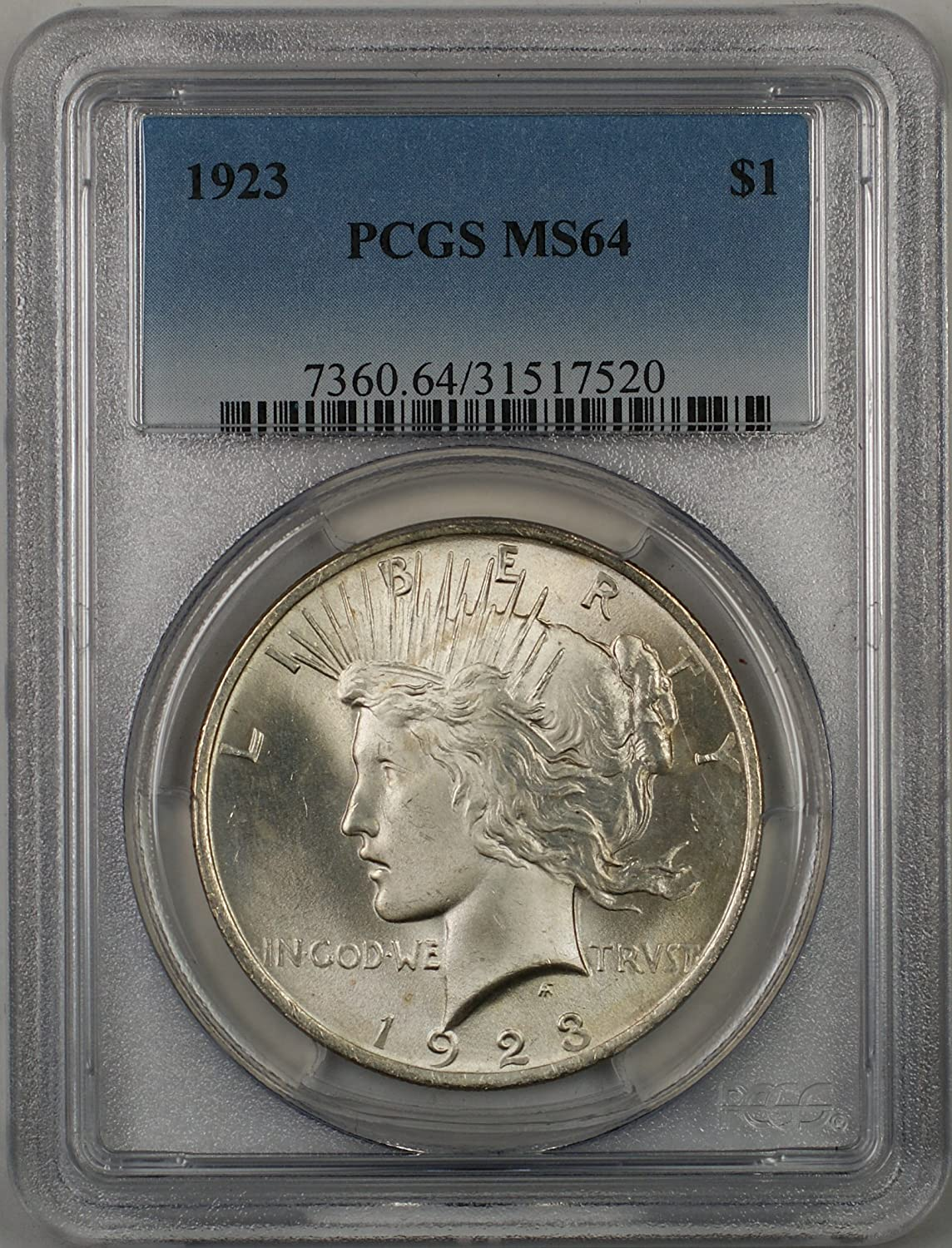 1923 Peace Dollar MS64 PCGS Mint State 64