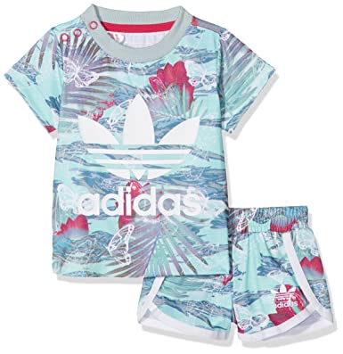 70a11f85637be adidas Girls Flower Shorts and T Shirt Set Infants Suits & Bodies, Girls,  S14650