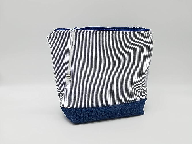 Bolsa azul marino y blanca, Interior impermeable, Bolsa de ...