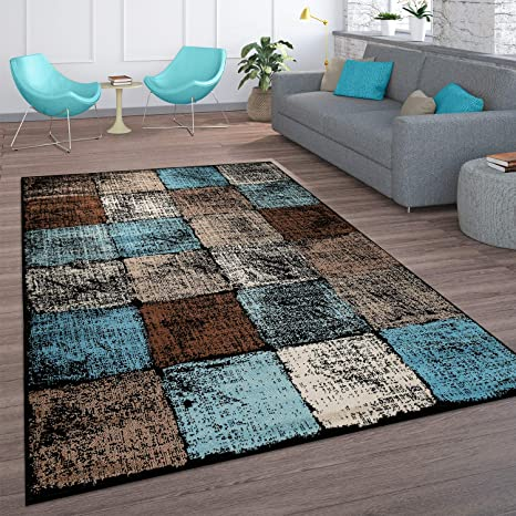 Amazon Com Modern Area Rug For Living Room Abstract In Brown Cream Blue Checkered Size 6 7 X 9 2 Kitchen Dining