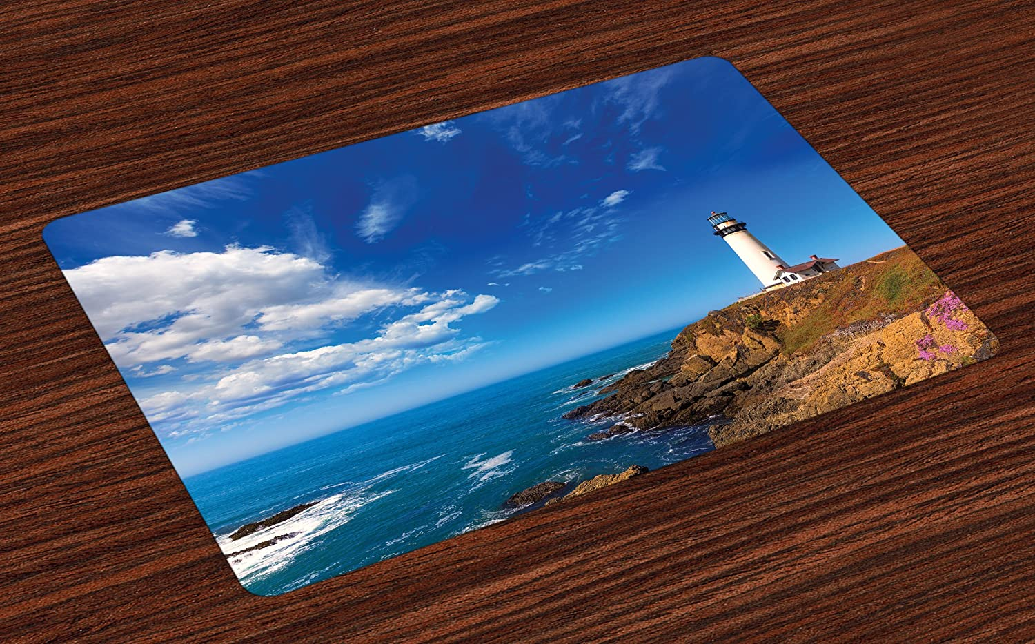 Lunarable Lighthouse Place Mats Set of 4, California City Pigeon Point Lighthouse in Cabrillo Coastal Image Print, Washable Fabric Placemats for Dining Room Kitchen Table Decoration, Blue White Brown