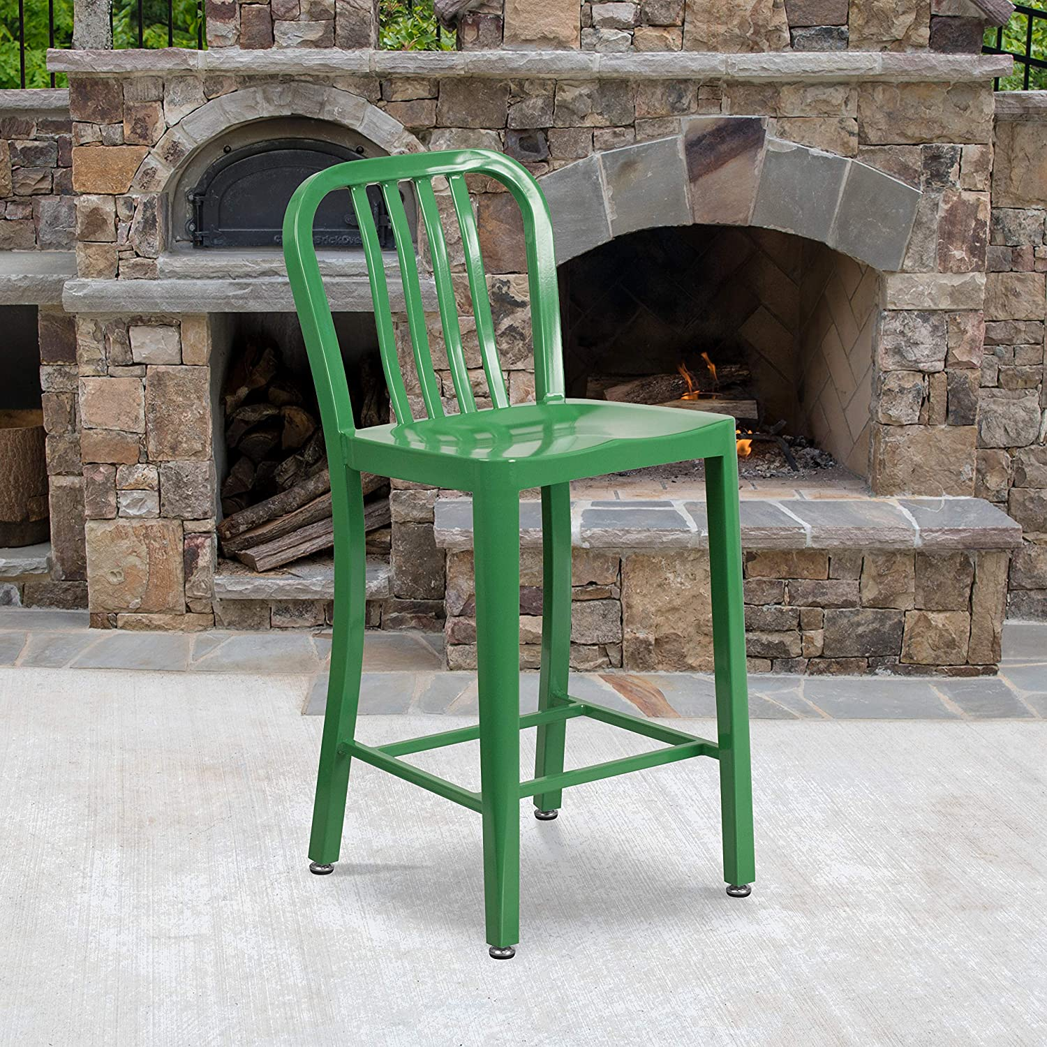OLIVER 24 H Backless Mint Green Indoor-Outdoor Counter Height Stool EMMA