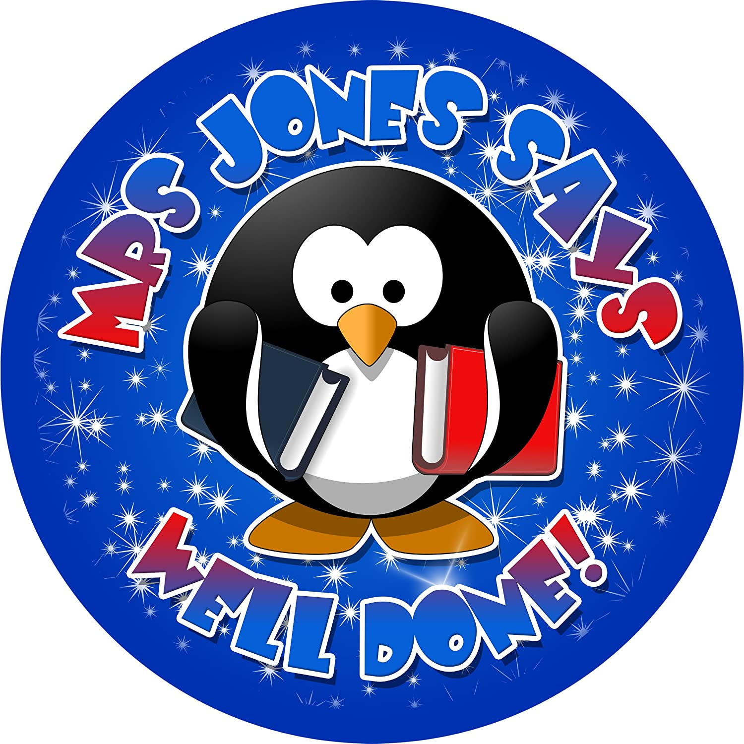 School stickers penguin sticker labels personalised seals ideal for party bags sweet cones favours jars presentations gift boxes bottles