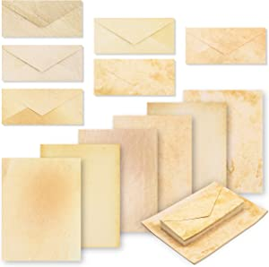 Aged Paper and Envelopes, Vintage Stationery Set (8.5 x 11 In, 48 Sheets)