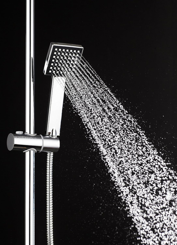 DP Grifería RY-S002 Azabache - Set de ducha cuadrado sin grifo ...