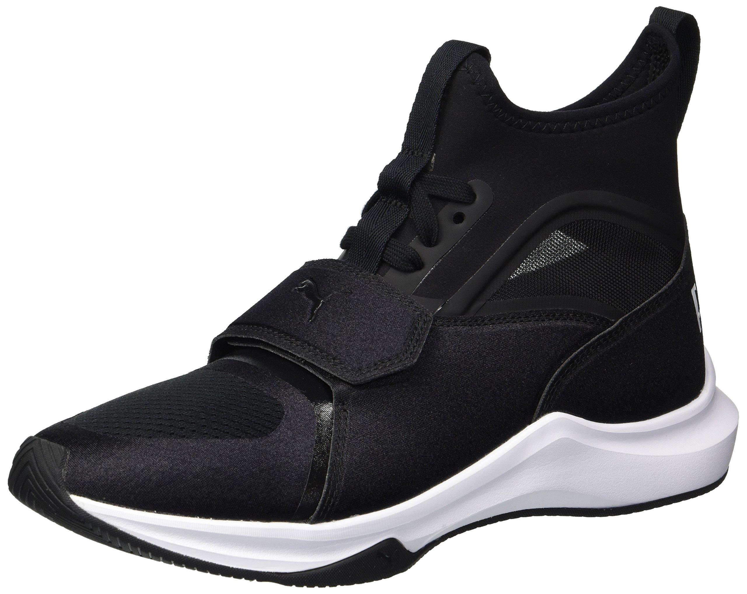 PUMA Women's Phenom Wn Sneaker, Black White, 7.5 M US