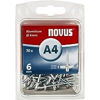 Novus Aluminium klinknagels 6 mm, 70 klinknagels, Ø 4 mm, 1,5-3,0 mm klemlengte, voor non-ijzer metaal, kunststof en…