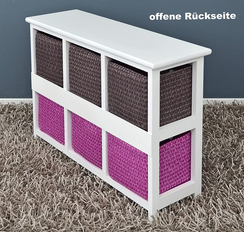 Ts-ideen Ts-ideen Ts-ideen Kommode Nachttisch Sideboard Schrank 60 x 44 cm Bad Regal weiß mit 2 x 3 bunten Körben für Kinderzimmer, Büro, Bad, Flur und Babyzimmer 8ecf4b