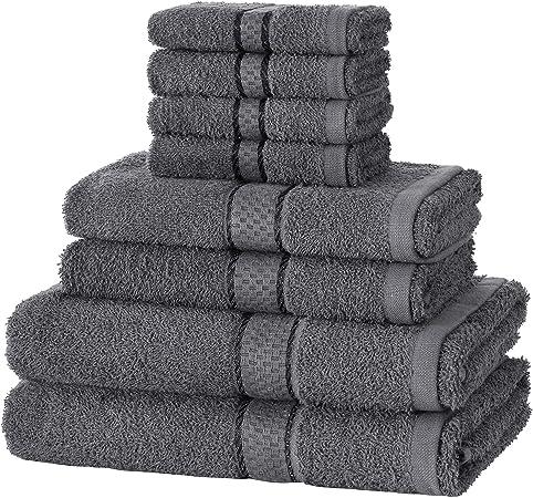 Evelyn Living, juego de toallas de 8 piezas 100% algodón egipcio para baño, 4 toallas de cara, 2 toallas de mano y 2 toallas de baño: Amazon.es: Hogar
