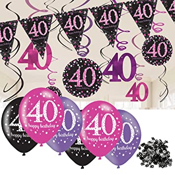 40th Birthday Decorations Pink Bunting Balloons Hanging Amazoncouk Office Products