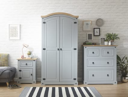 Right Deals UK Grey Corona Bedroom Furniture Set - Wardrobe, Bedside &  Chest - Grey & Waxed Mexican Solid Pine Tops