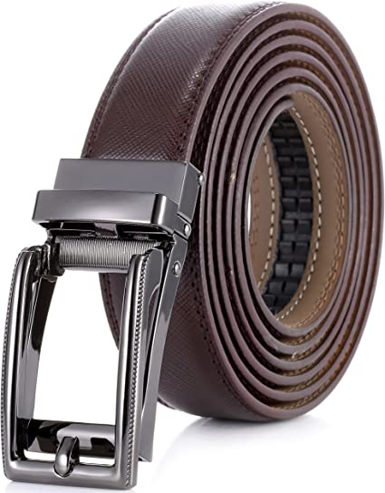 Marino Mens Genuine Leather Ratchet Dress Belt with Linxx Buckle Enclosed in ...