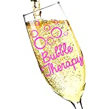 """""""Bubble Therapy"""" - Perfect Gift for Champagne Lovers! 8oz Champagne Glass Flute, Made in USA - by Salty & Sweet (1, Bubble Therapy)"""
