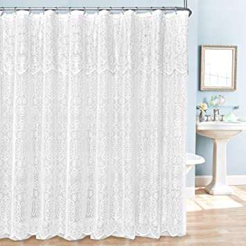 Amazoncom Madison Home Lac Sc Wh Shower Curtain White Home Kitchen