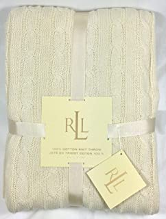 lauren ralph lauren cream cotton cable knit throw blanket 50 x 70 in - Cable Knit Throw