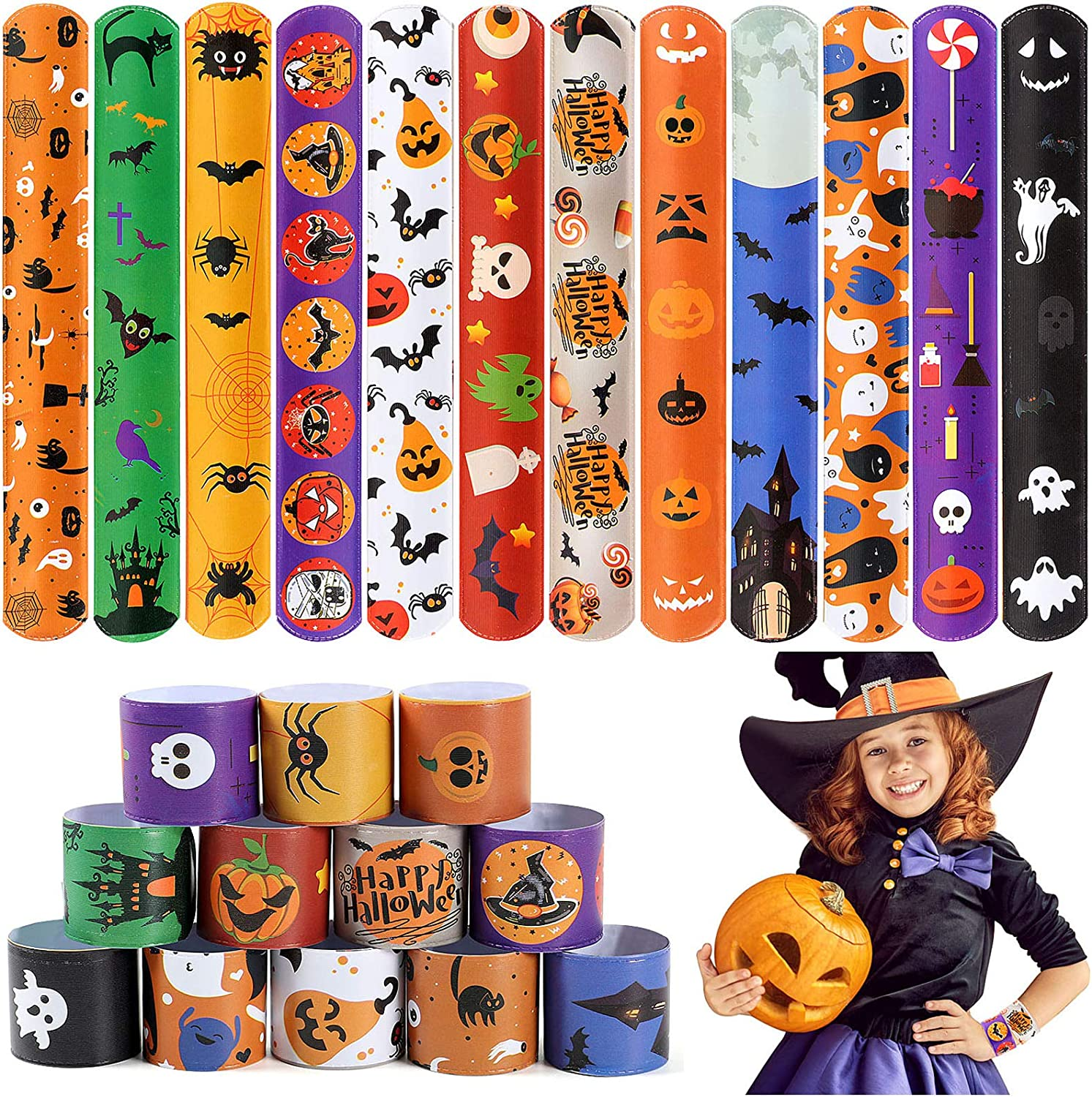 48 PCS Halloween Slap Bracelets for Kids Snap Bracelets Bulk with Spider Pumpkin Ghost Animal Print Craft Halloween Party Favors Birthday Gifts