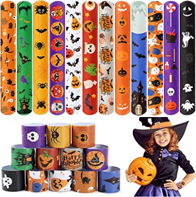 60PCS Halloween Slap Bracelets Party Favors Pack for Kids Snap Bracelets Bulk with Spider Pumpkin Ghost Print Craft for Halloween Gift,Trick or Treating Goodie 4 Sheets Stickers. 15 Designs