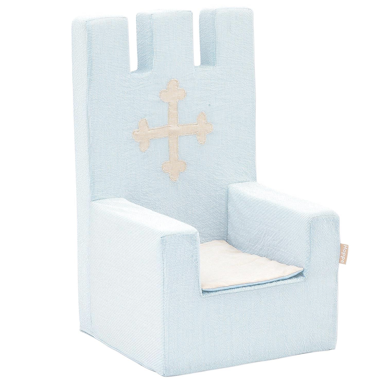Hoppe Kids Fairytale Knight Roi Mousse, Chaise avec accoudoirs, 100% Coton certifié Ökotex, Plastique, Helblau, 60x 40x 60cm Hoppekids Fairytale Knight Foamchair