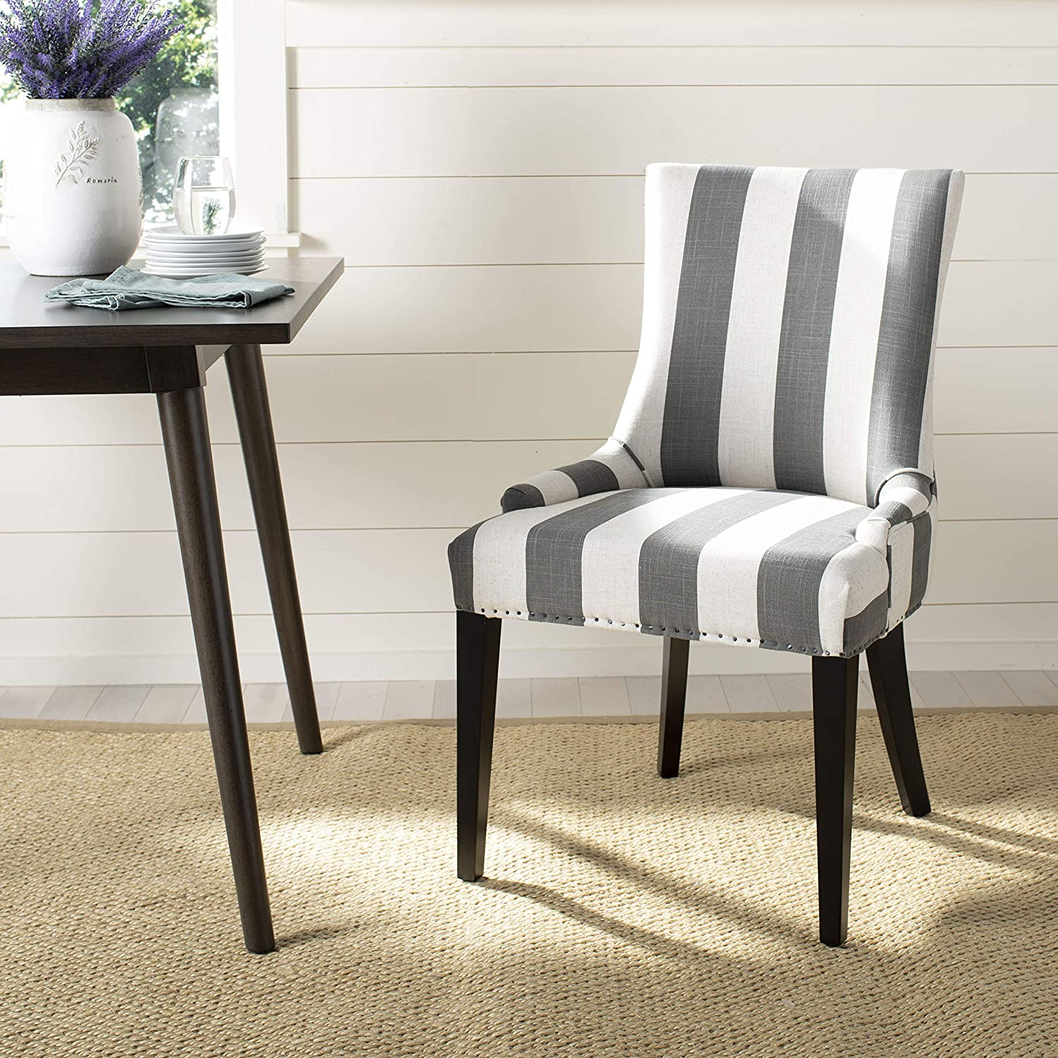 Amazon Com Safavieh Mercer Collection Eva And White Striped Dining Chair With Trim Nail Head Grey Chairs