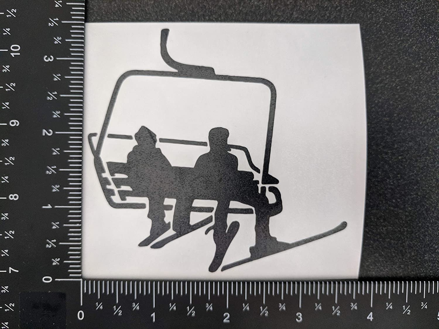 CCDecals Skiing Decal 4 Pack: Id Rather Be Skiing Chairlift Goggles Eat Sleep Ski Skiing Black