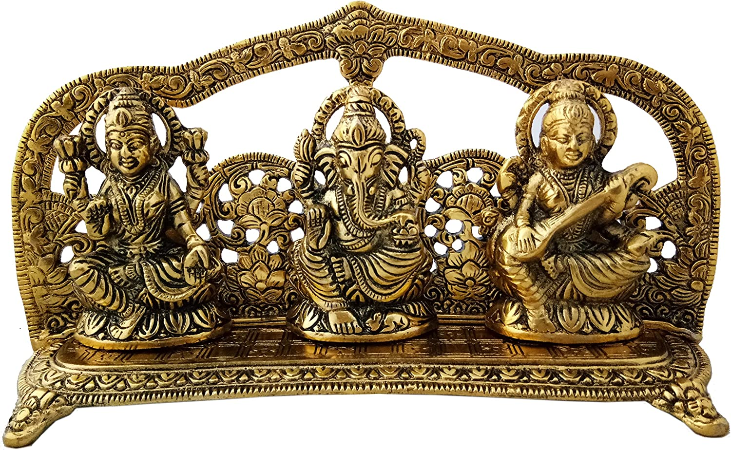 Charmy Crafts White Gold Metal Laxmi Ganesh Saraswati Handcrafted Showpiece for Home Decor Gift Item