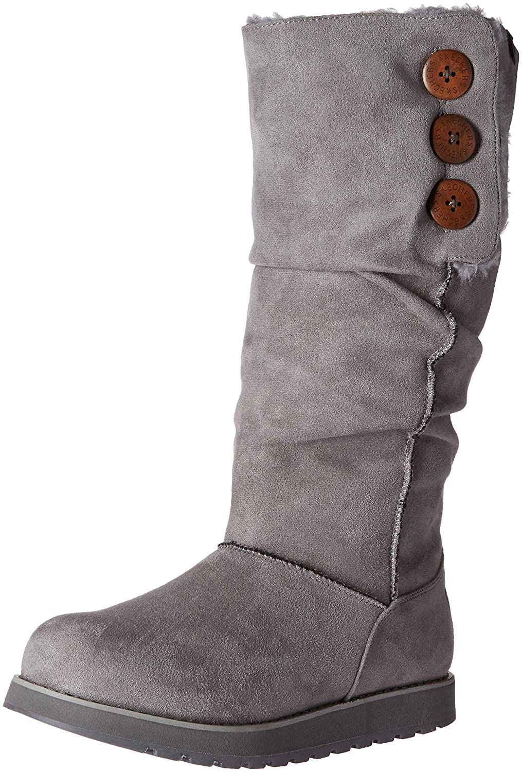 Skechers Womens Keepsakes-Big Button Slouch Tall Winter Boot  5 B(M) US Charcoal