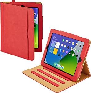 "S-Tech iPad 7th Generation 10.2"" Case - Soft Leather Wallet Magnetic Smart Cover with Sleep/Wake Feature Flip Folio Stand with Pencil Holder for Apple iPad 7 Gen 10.2 (Red)"