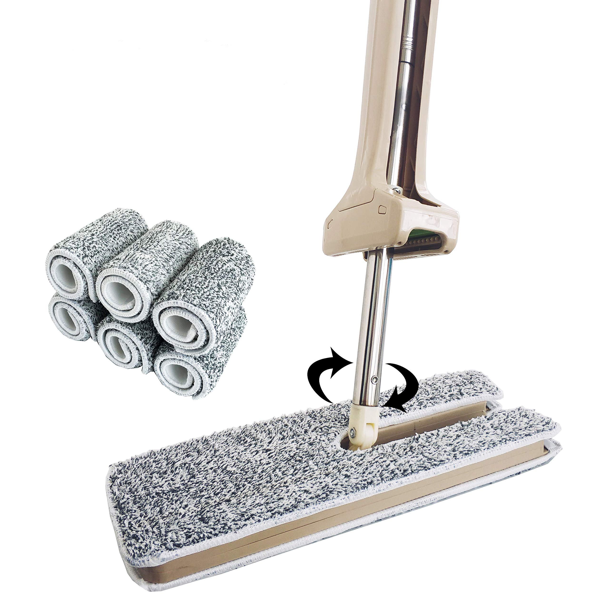Kessica Dual-Sided Microfiber Flat Lazy Mop 360 Degrees Rotation and Self-Wringing Wet & Dry Household Cleaning Mop. (Upgraded 4 Microfiber Pads)
