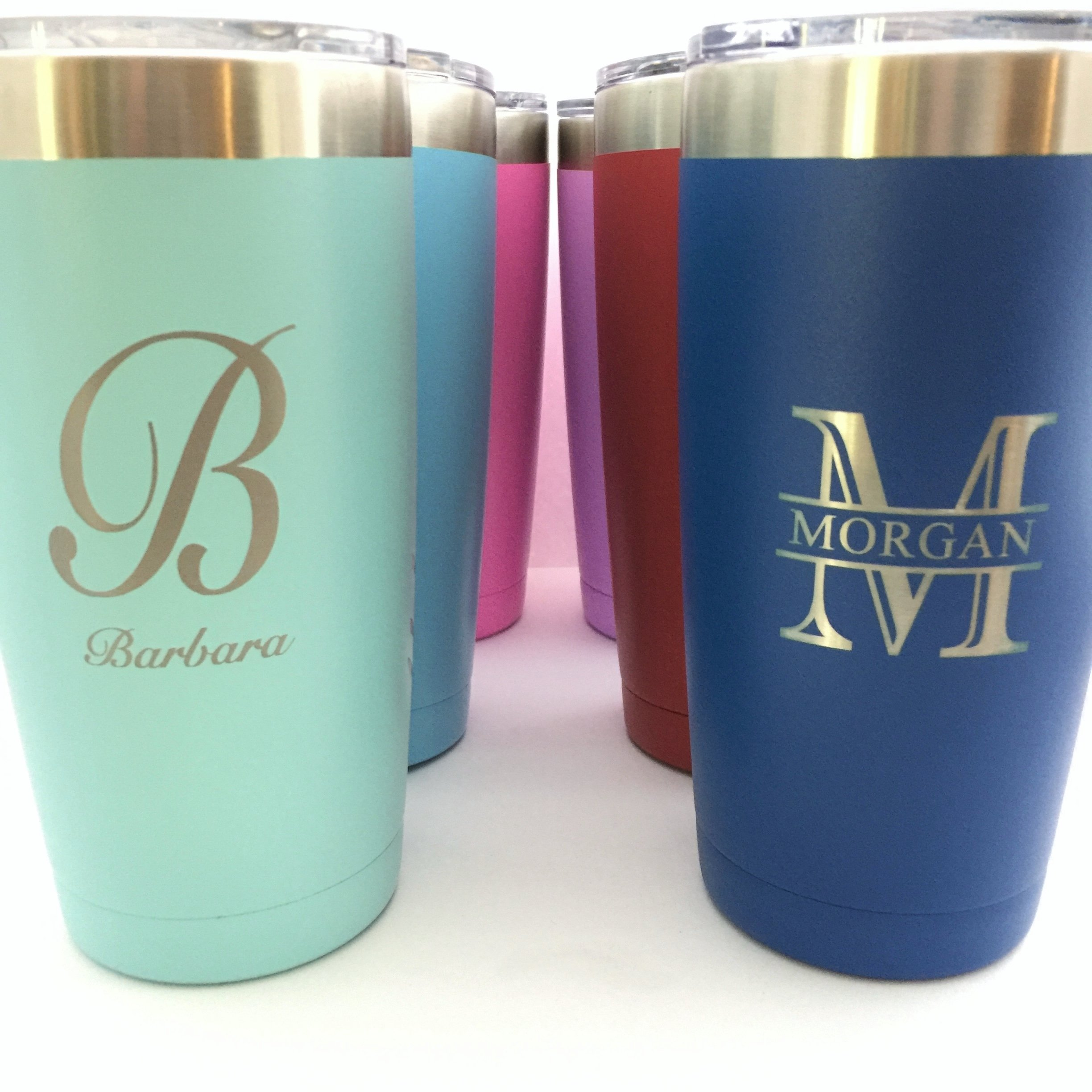 Monogrammed Insulated Tumbler 20oz Choose Your Color Personalized