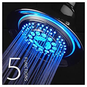 dreamspa all chrome water temperature controlled color changing 5setting led showerhead by