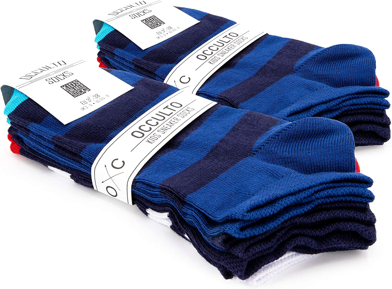 Occulto 8 paires de chaussettes pour baskets 35-38 Bleu