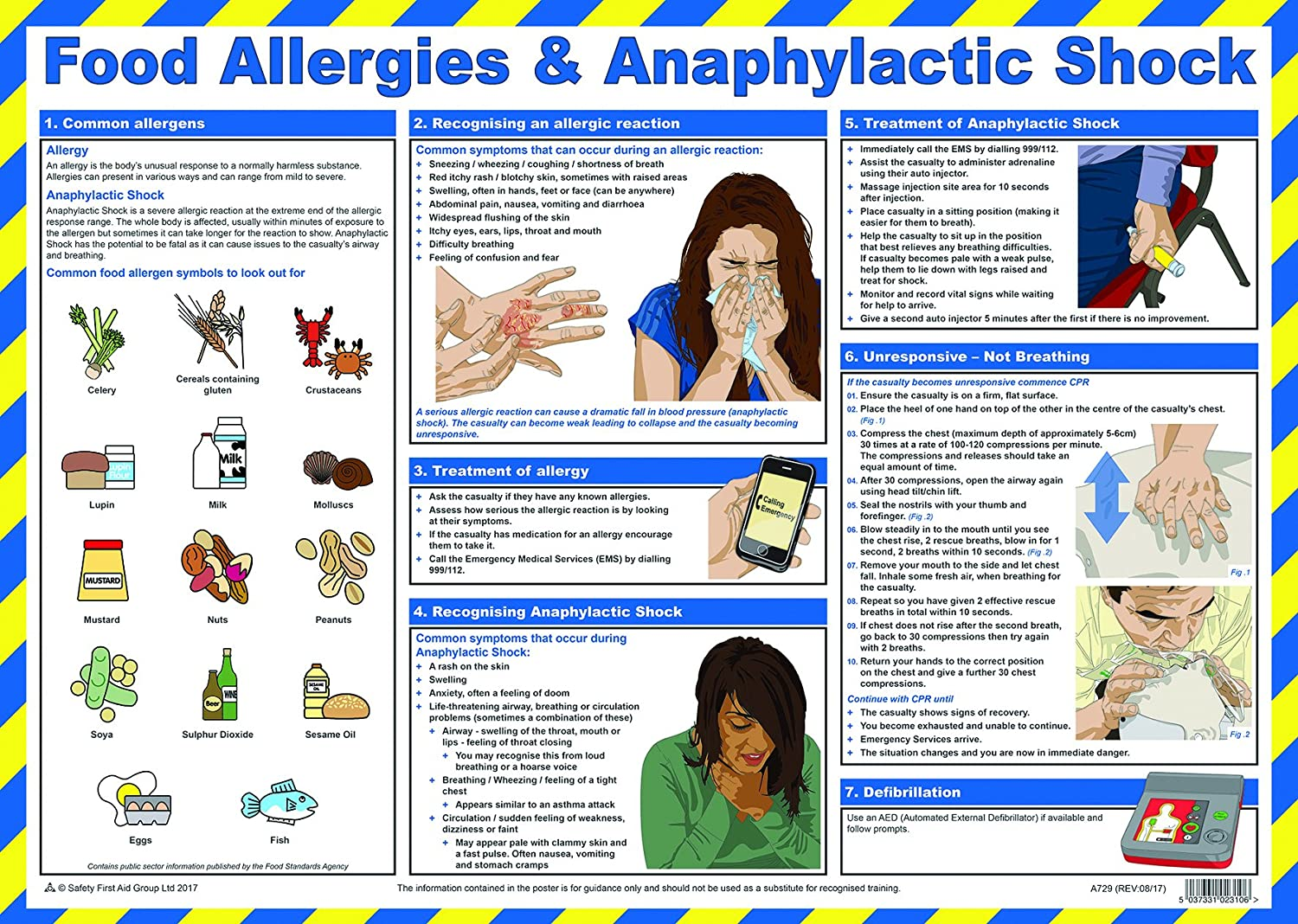Safety First Aid Group Food Allergies and Anaphylactic Shock Poster A2 Laminated